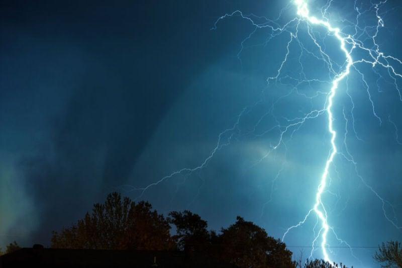 stormy lightening sky